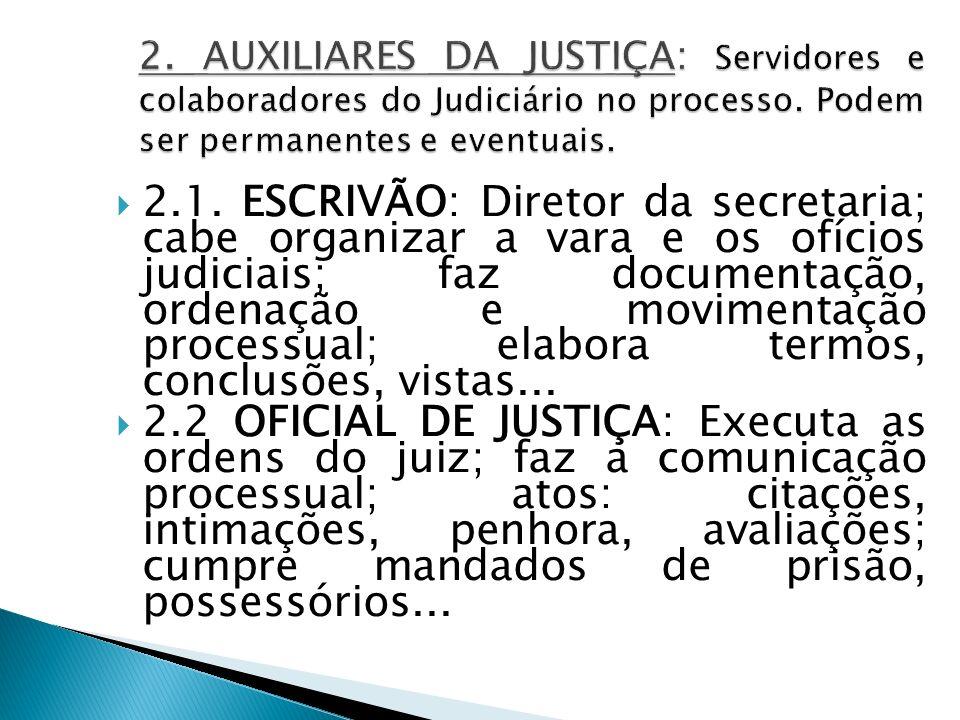 2. AUXILIARES DA JUSTIÇA: Servidores e colaboradores do Judiciário no processo. Podem ser permanentes e eventuais.