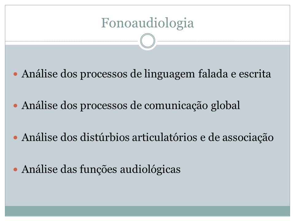 Fonoaudiologia Análise dos processos de linguagem falada e escrita
