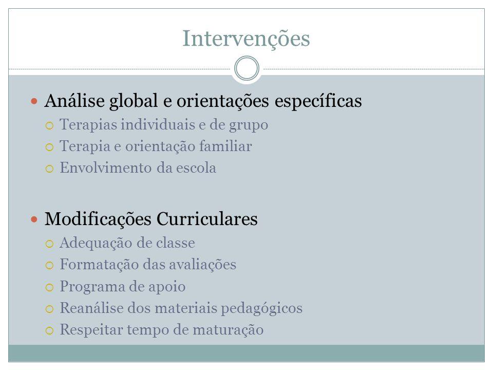 Intervenções Análise global e orientações específicas