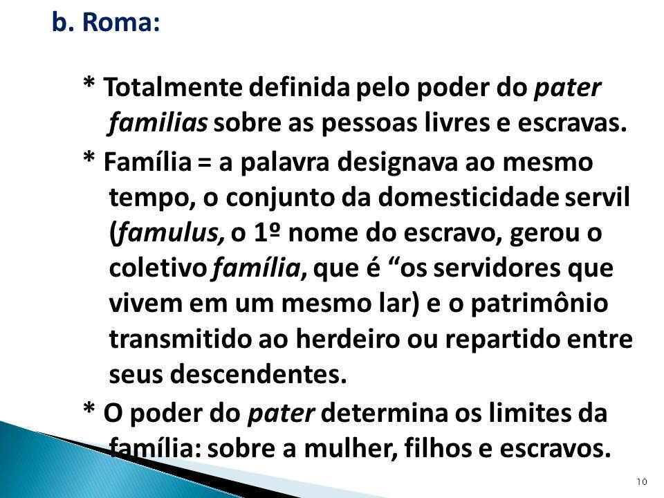 b. Roma: * Totalmente definida pelo poder do pater familias sobre as pessoas livres e escravas.
