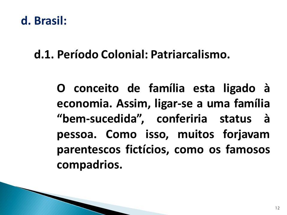 d. Brasil: d. 1. Período Colonial: Patriarcalismo