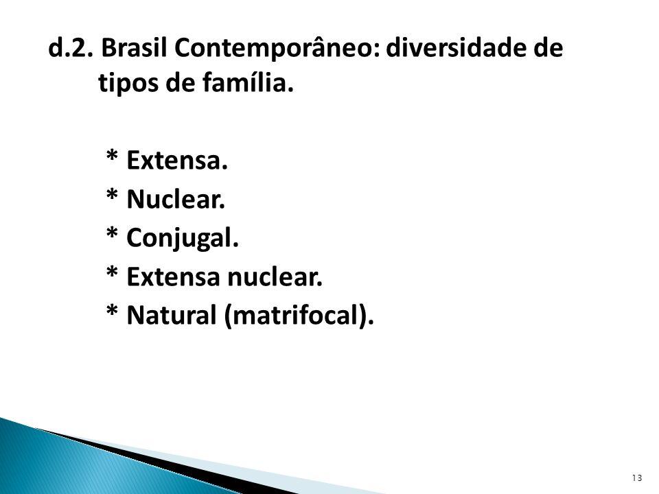 d. 2. Brasil Contemporâneo: diversidade de tipos de família. Extensa