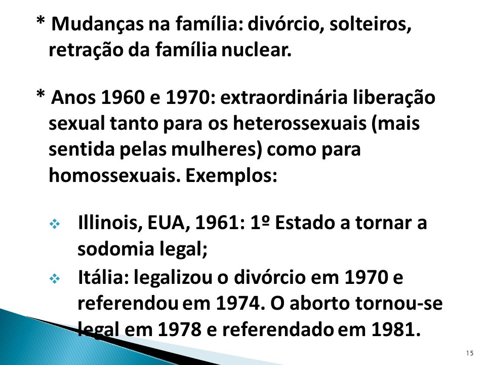 * Mudanças na família: divórcio, solteiros, retração da família nuclear.