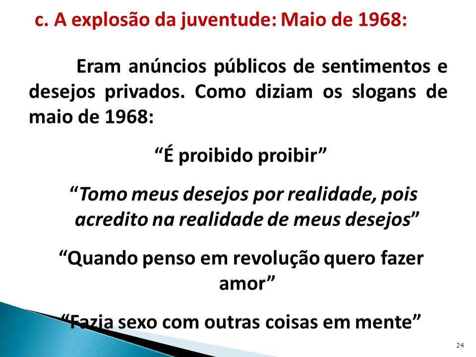 c. A explosão da juventude: Maio de 1968: Eram anúncios públicos de sentimentos e desejos privados.