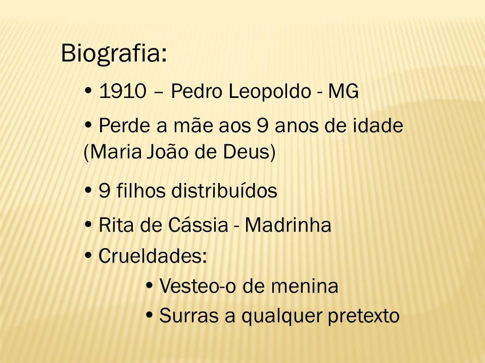 Biografia:  1910 – Pedro Leopoldo - MG