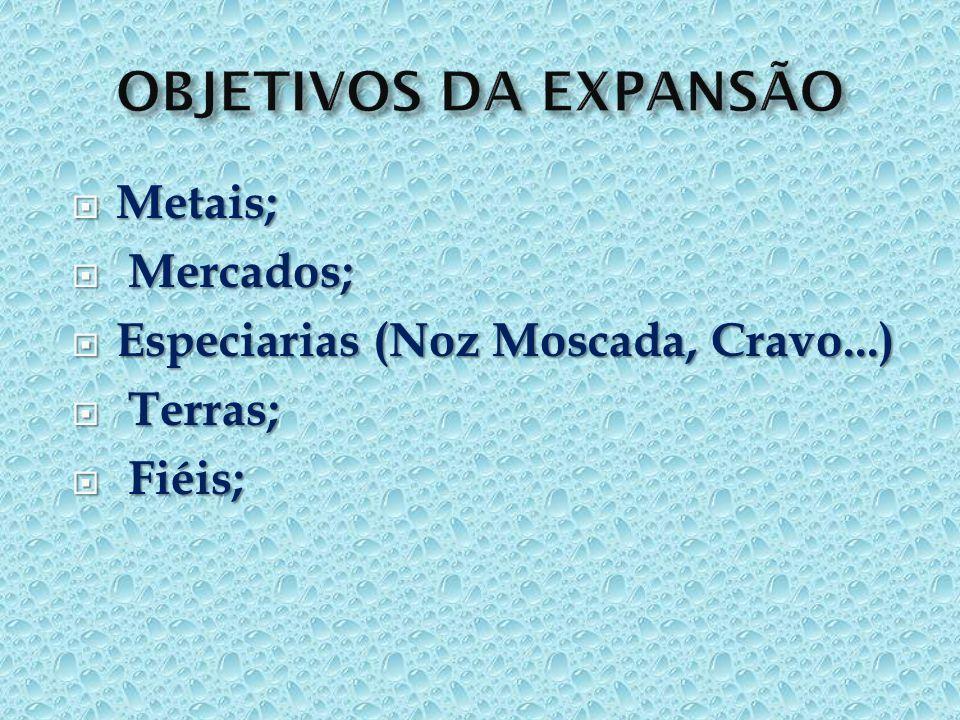 OBJETIVOS DA EXPANSÃO Metais; Mercados;