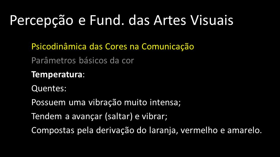 Percepção e Fund. das Artes Visuais