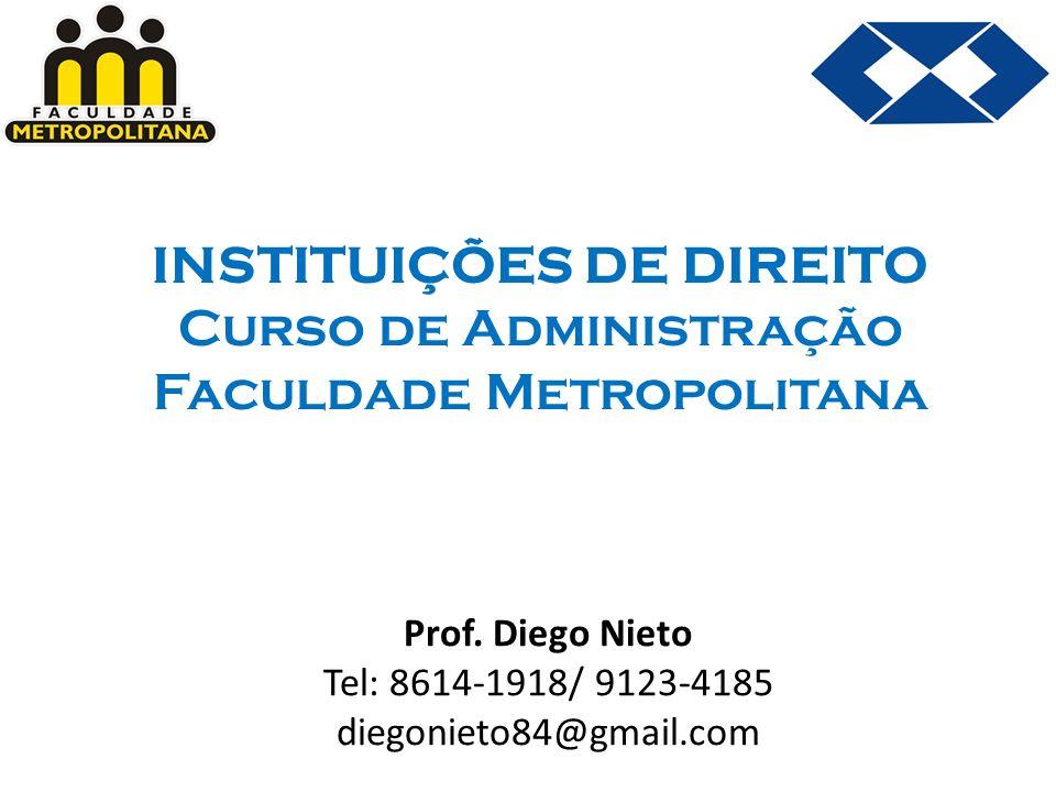 INSTITUIÇÕES DE DIREITO Curso de Administração Faculdade Metropolitana