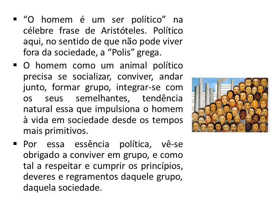O homem é um ser político na célebre frase de Aristóteles