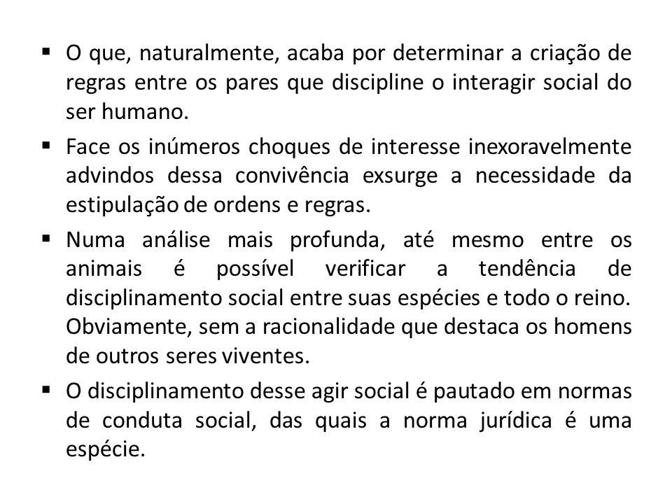O que, naturalmente, acaba por determinar a criação de regras entre os pares que discipline o interagir social do ser humano.