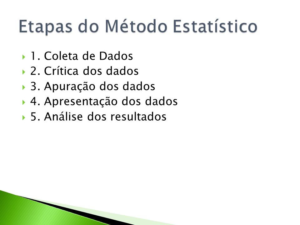 Etapas do Método Estatístico