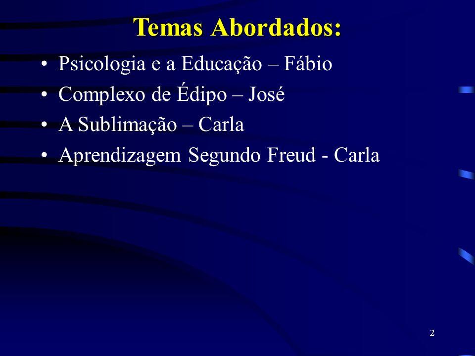 Temas Abordados: Psicologia e a Educação – Fábio