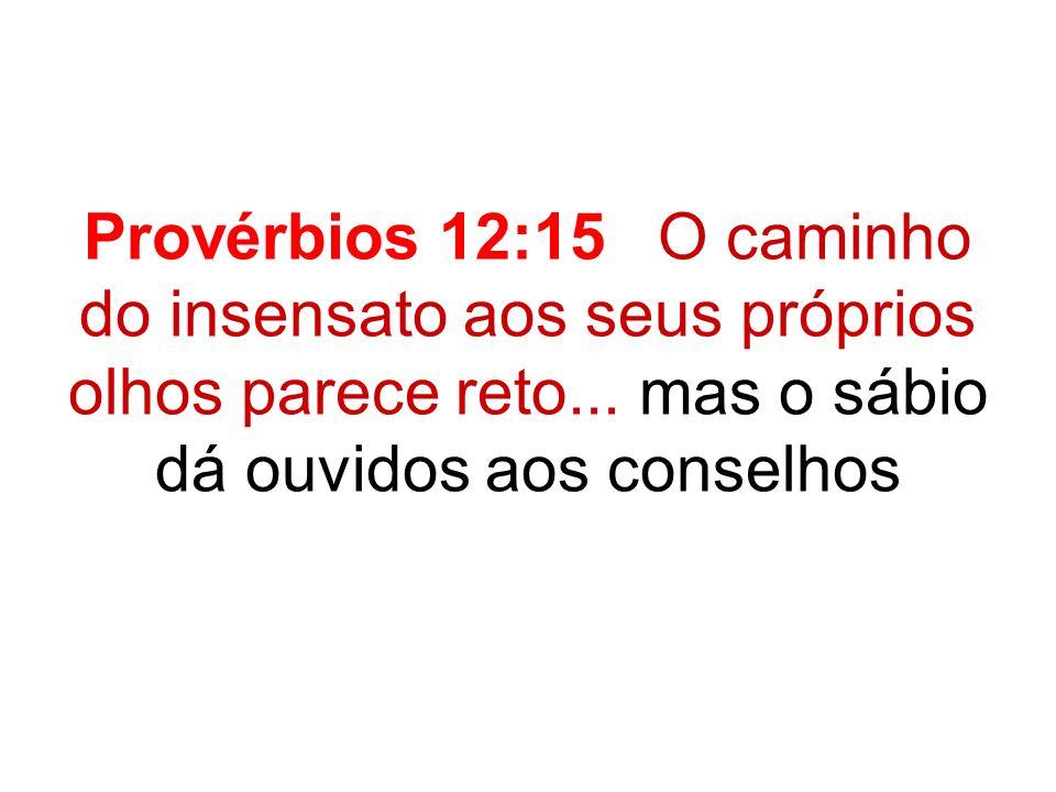 Provérbios 12:15 O caminho do insensato aos seus próprios olhos parece reto...