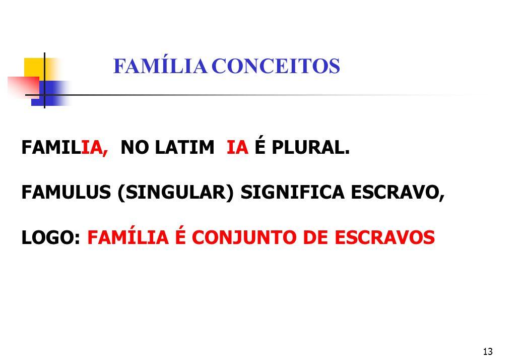 FAMÍLIA CONCEITOS FAMILIA, NO LATIM IA É PLURAL.