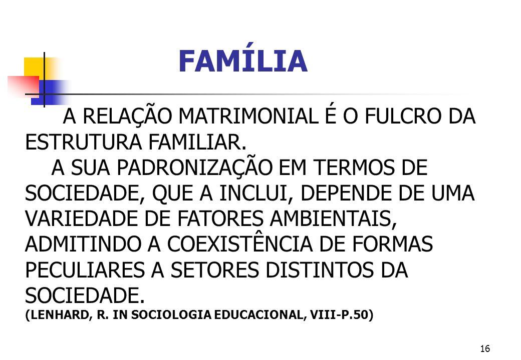 FAMÍLIA A RELAÇÃO MATRIMONIAL É O FULCRO DA ESTRUTURA FAMILIAR.