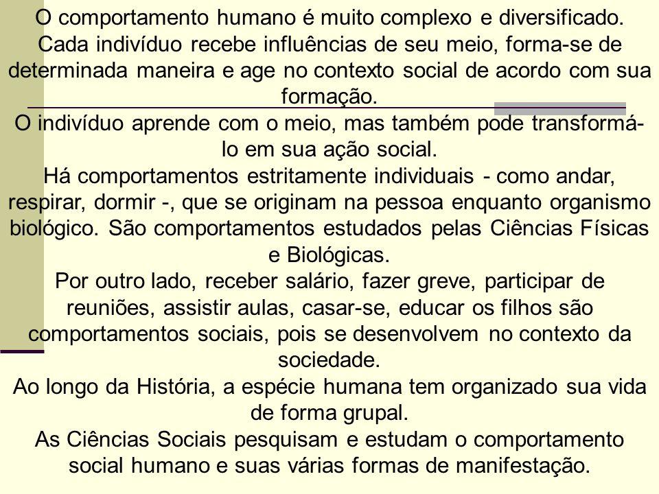 O comportamento humano é muito complexo e diversificado