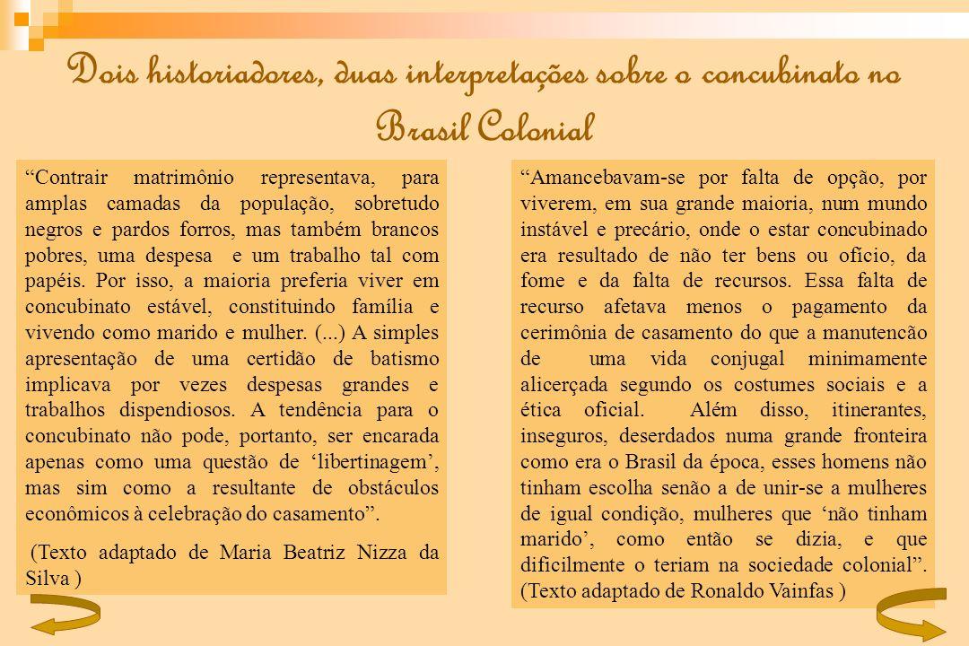Dois historiadores, duas interpretações sobre o concubinato no Brasil Colonial