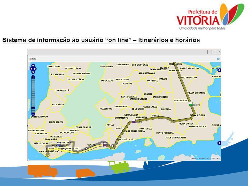 Sistema de informação ao usuário on line – Itinerários e horários