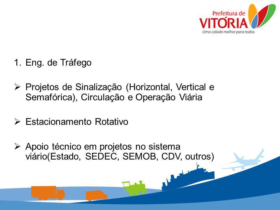 Eng. de Tráfego Projetos de Sinalização (Horizontal, Vertical e Semafórica), Circulação e Operação Viária.