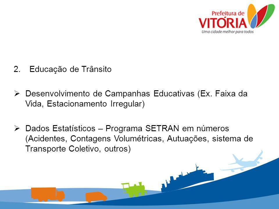 2. Educação de Trânsito Desenvolvimento de Campanhas Educativas (Ex. Faixa da Vida, Estacionamento Irregular)
