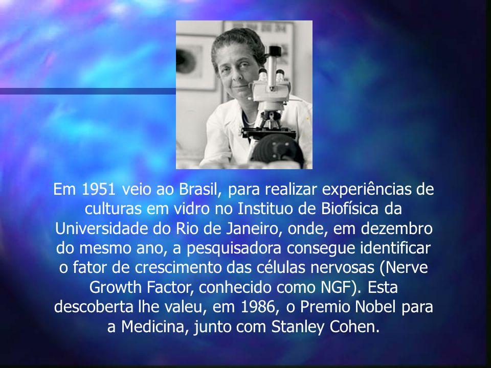 Em 1951 veio ao Brasil, para realizar experiências de culturas em vidro no Instituo de Biofísica da Universidade do Rio de Janeiro, onde, em dezembro do mesmo ano, a pesquisadora consegue identificar o fator de crescimento das células nervosas (Nerve Growth Factor, conhecido como NGF).