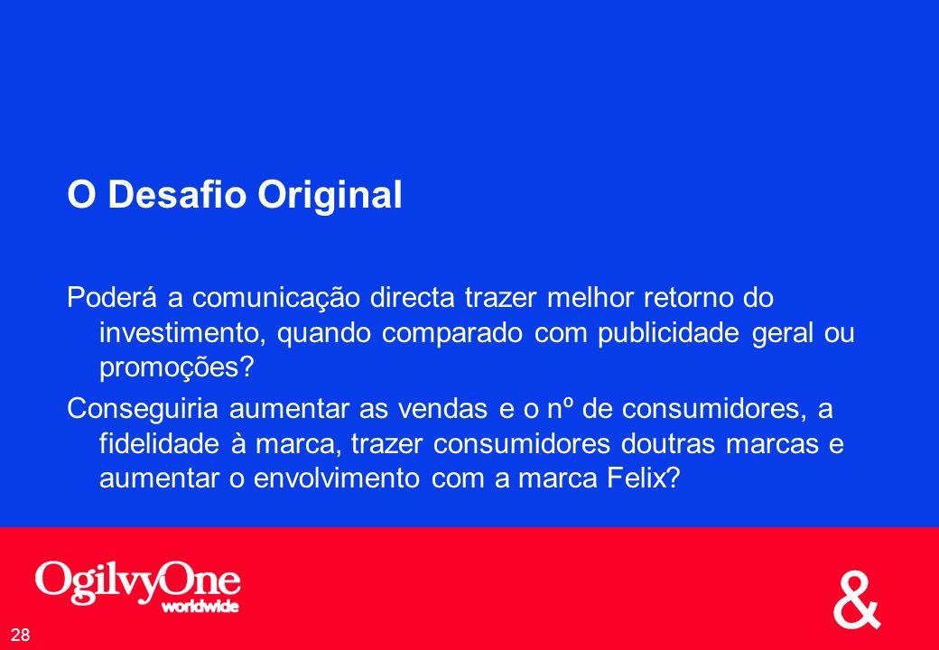 O Desafio Original Poderá a comunicação directa trazer melhor retorno do investimento, quando comparado com publicidade geral ou promoções