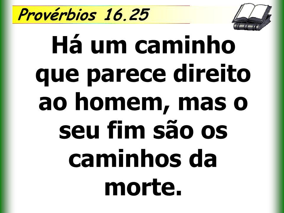 Provérbios 16.25 Há um caminho que parece direito ao homem, mas o seu fim são os caminhos da morte.