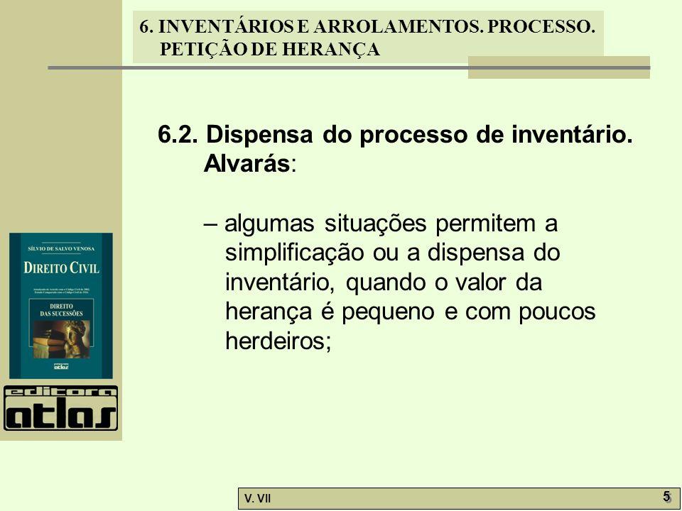 6.2. Dispensa do processo de inventário. Alvarás: