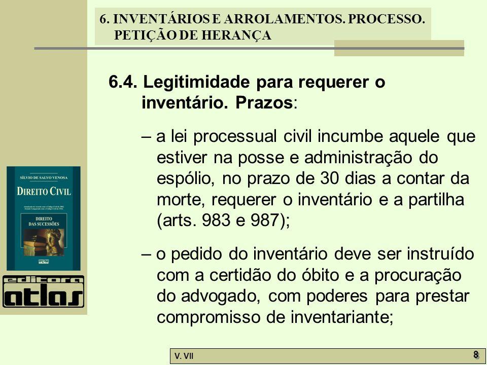 6.4. Legitimidade para requerer o inventário. Prazos: