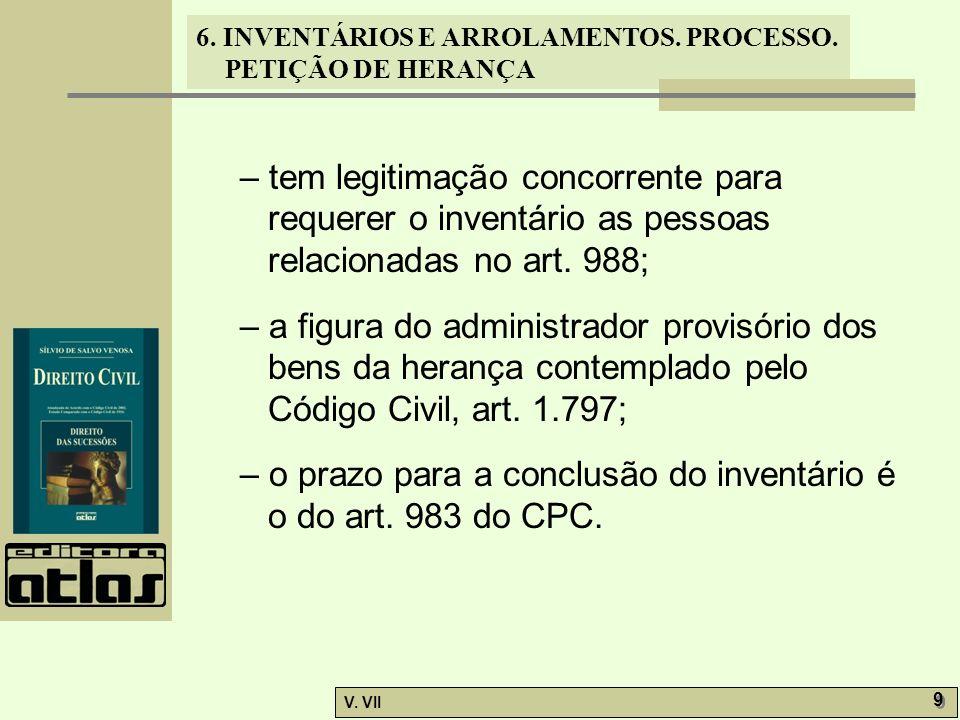 – tem legitimação concorrente para requerer o inventário as pessoas relacionadas no art. 988;