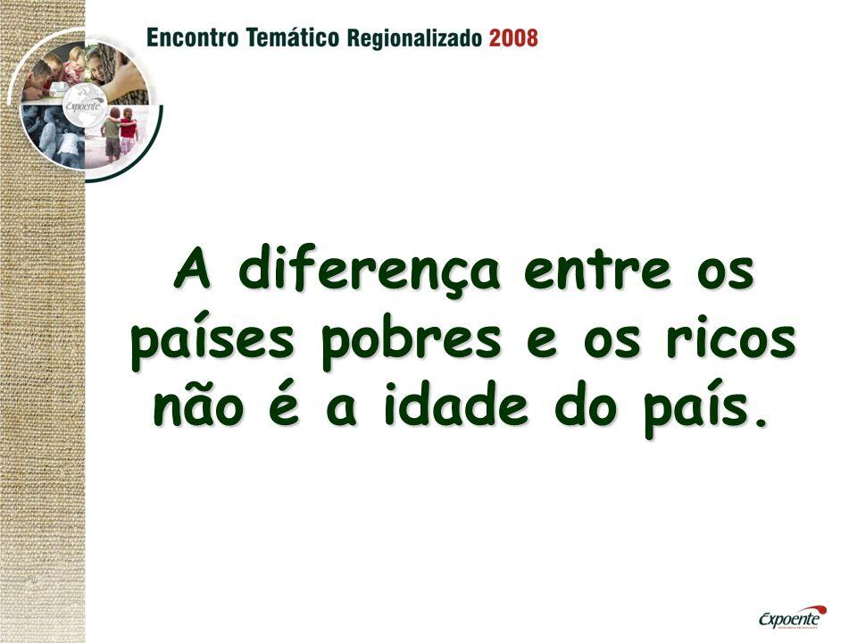 A diferença entre os países pobres e os ricos não é a idade do país.