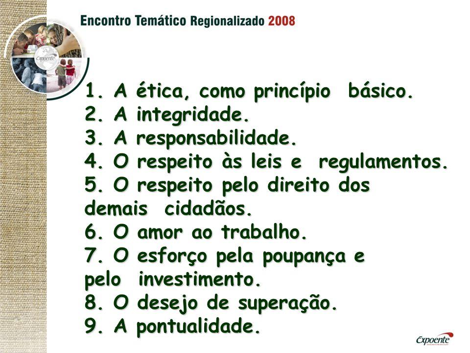 1. A ética, como princípio básico. 2. A integridade. 3