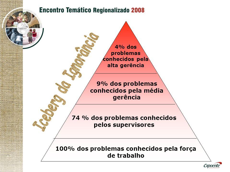Iceberg da Ignorância 9% dos problemas conhecidos pela média gerência