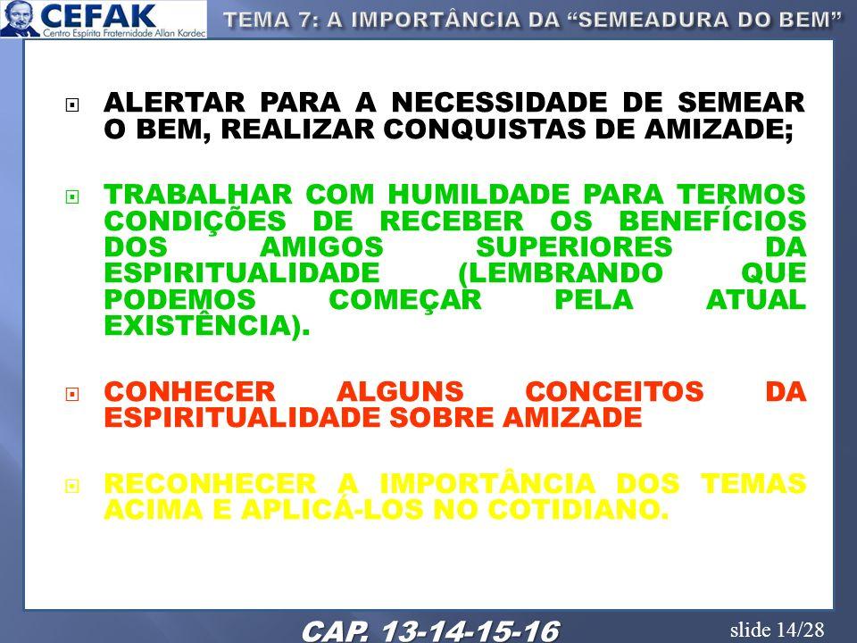 TEMA 7: A IMPORTÂNCIA DA SEMEADURA DO BEM
