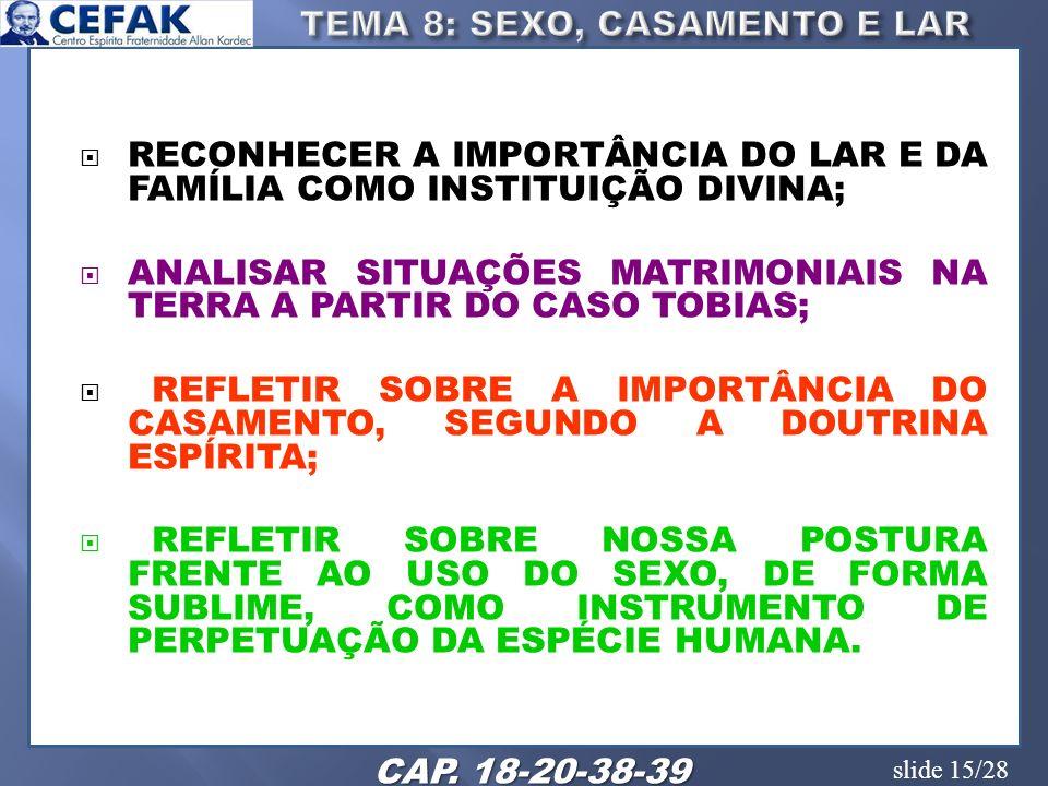 TEMA 8: SEXO, CASAMENTO E LAR