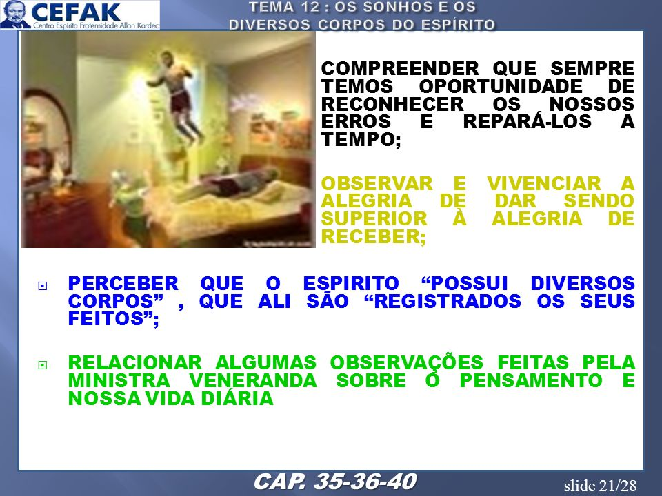 TEMA 12 : OS SONHOS E OS DIVERSOS CORPOS DO ESPÍRITO