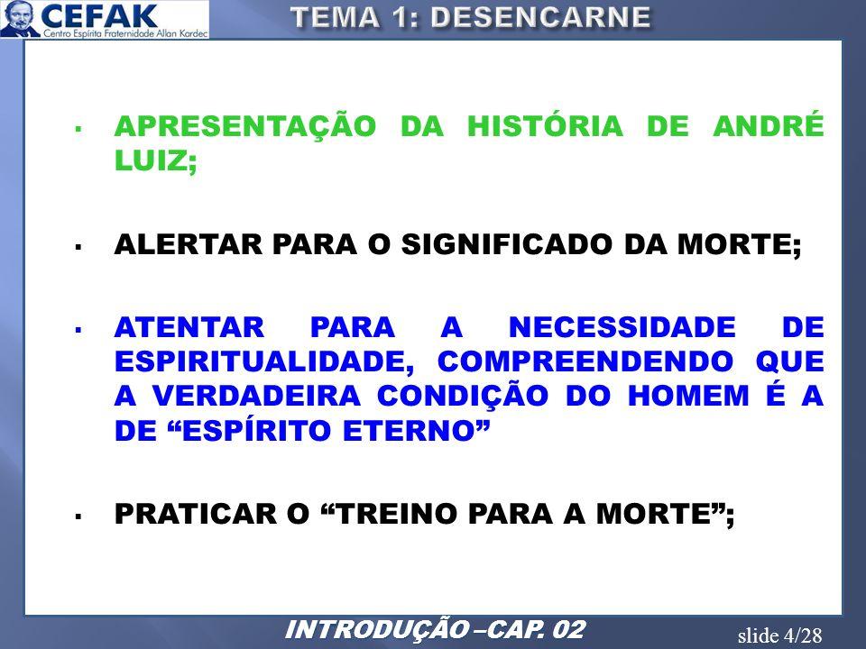 APRESENTAÇÃO DA HISTÓRIA DE ANDRÉ LUIZ;