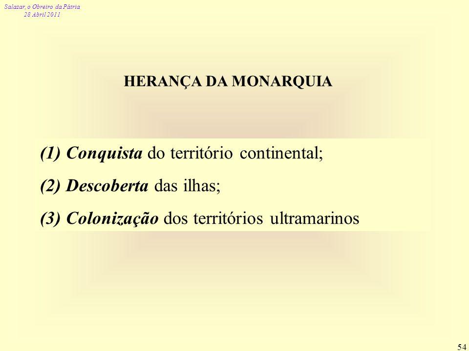Conquista do território continental; Descoberta das ilhas;
