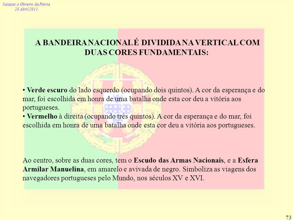 A BANDEIRA NACIONAL É DIVIDIDA NA VERTICAL COM DUAS CORES FUNDAMENTAIS: