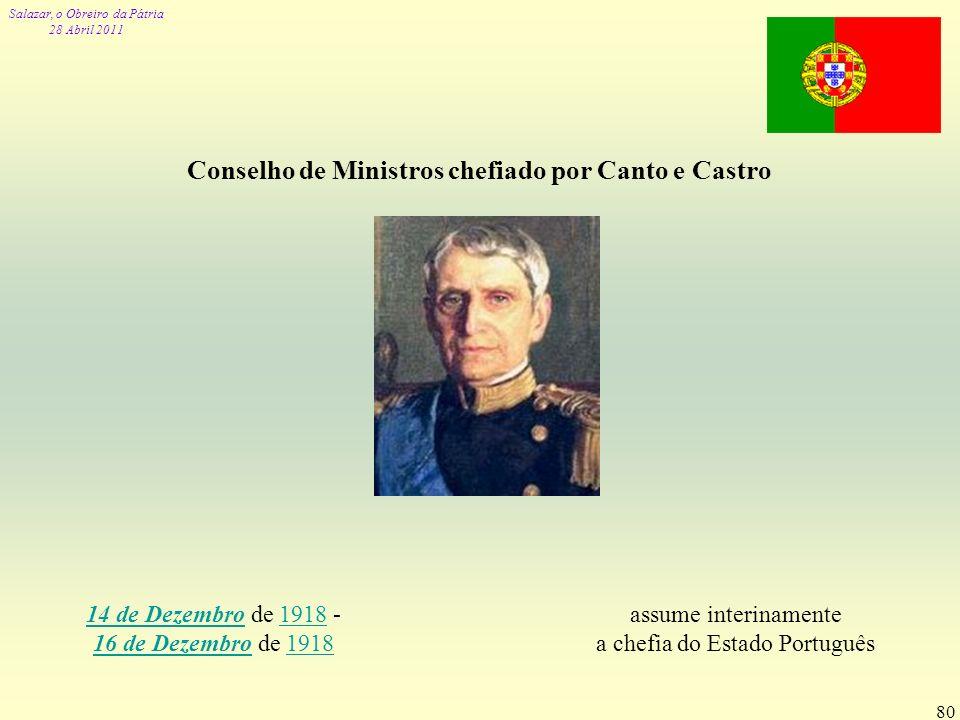Conselho de Ministros chefiado por Canto e Castro