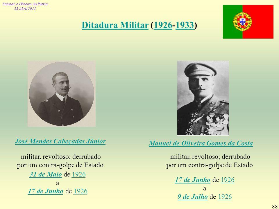 Ditadura Militar (1926-1933) José Mendes Cabeçadas Júnior