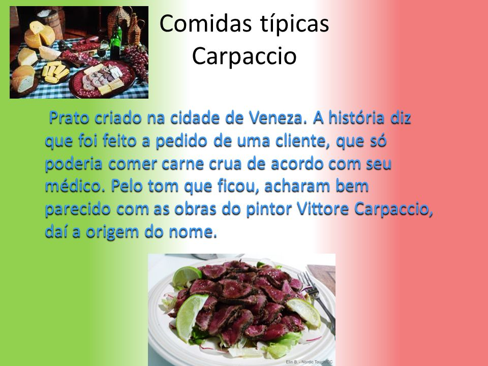 Comidas típicas Carpaccio