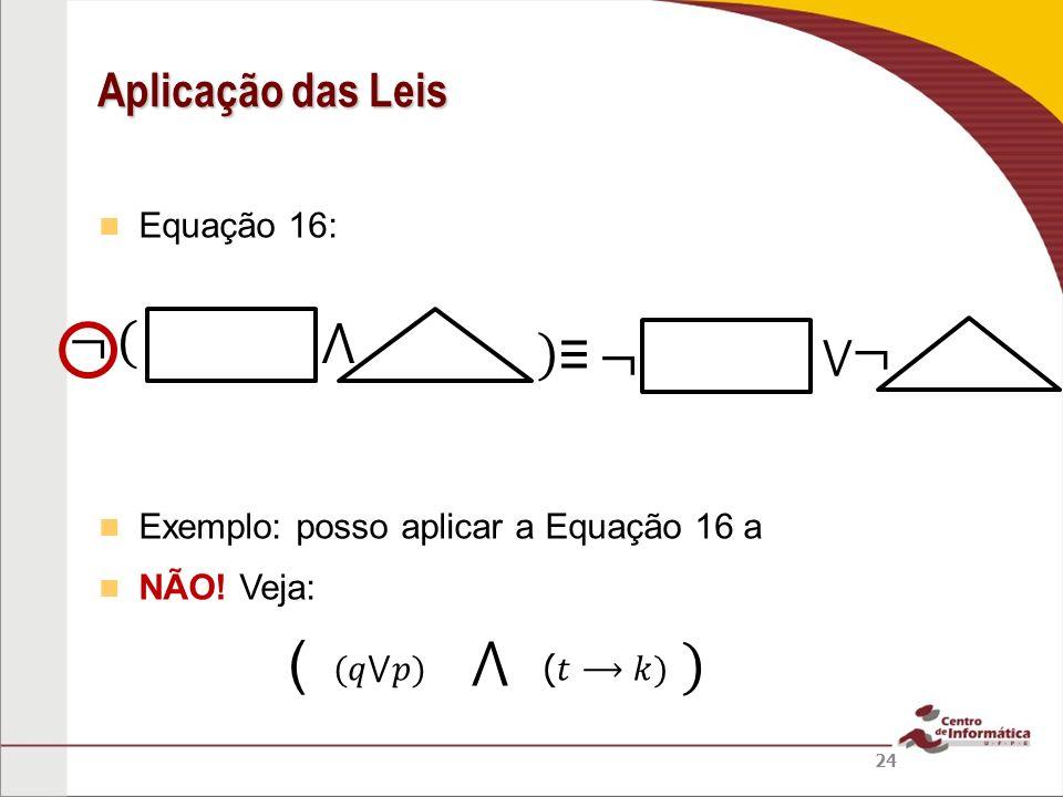 ( ⋀ ) ¬ ( ⋀ ) ≡ ¬ ¬ Aplicação das Leis ⋁ Equação 16: