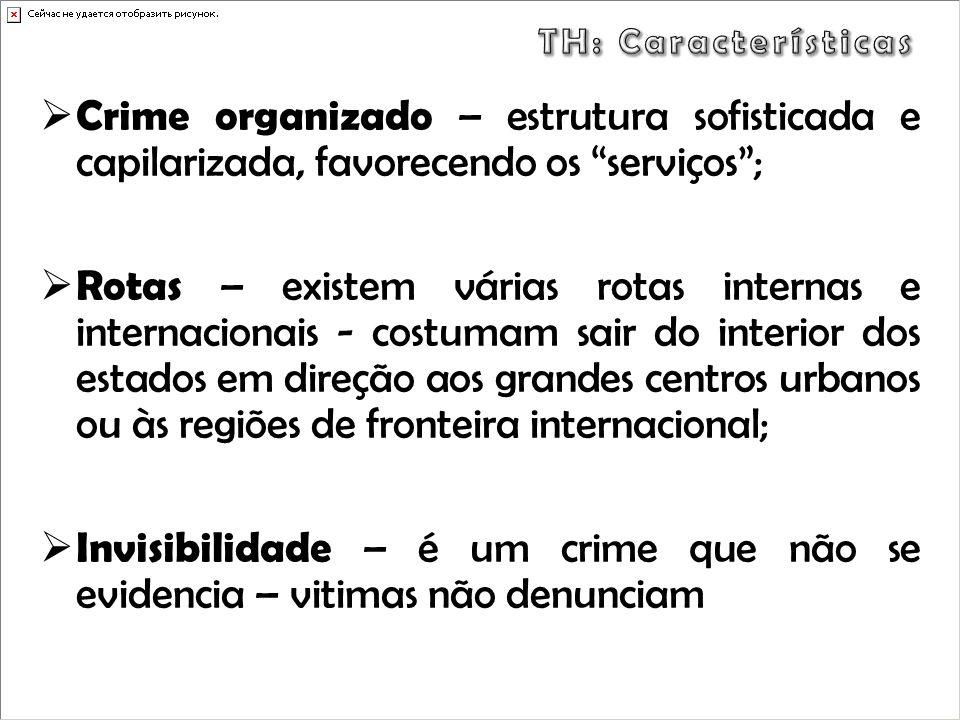 TH: Características Crime organizado – estrutura sofisticada e capilarizada, favorecendo os serviços ;