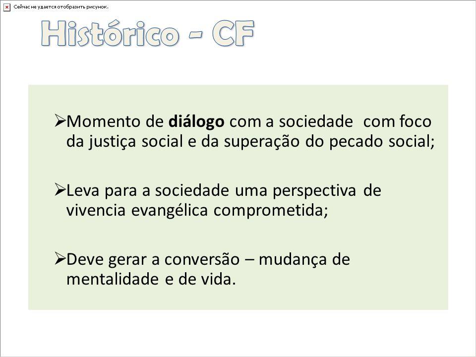 Histórico - CFMomento de diálogo com a sociedade com foco da justiça social e da superação do pecado social;