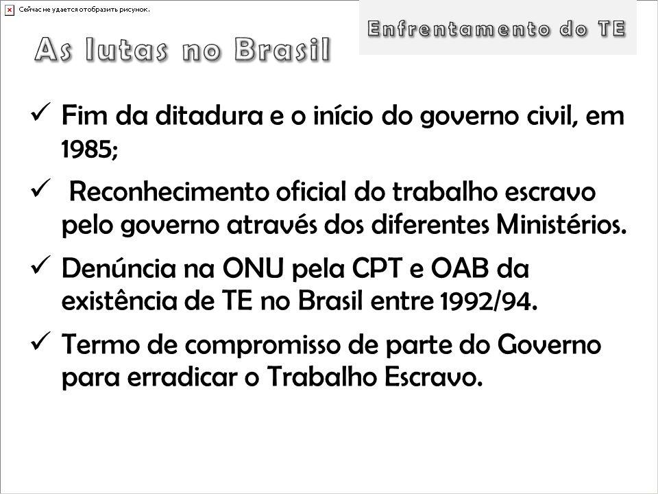 Enfrentamento do TE As lutas no Brasil. Fim da ditadura e o início do governo civil, em 1985;