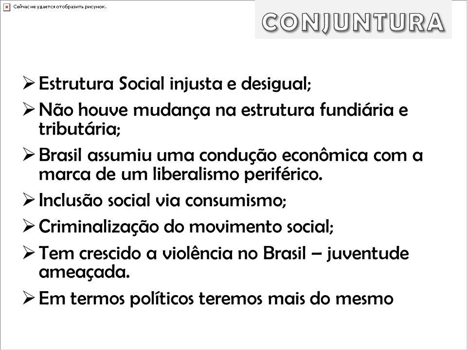 CONJUNTURA Estrutura Social injusta e desigual;