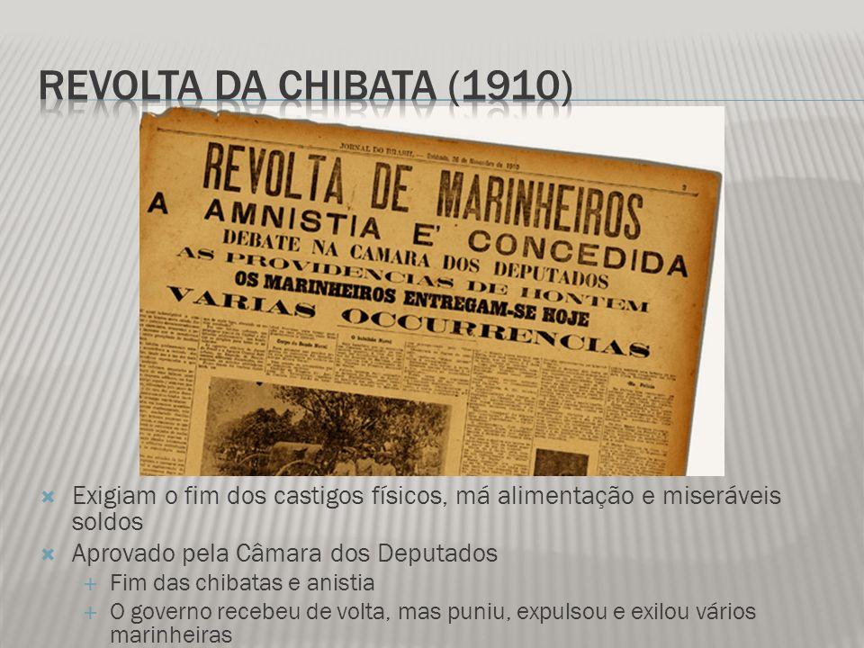 Revolta da Chibata (1910) Exigiam o fim dos castigos físicos, má alimentação e miseráveis soldos. Aprovado pela Câmara dos Deputados.