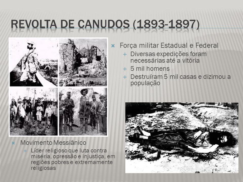 Revolta de Canudos (1893-1897) Força militar Estadual e Federal