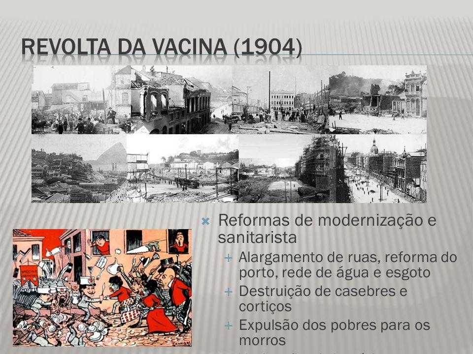 Revolta da Vacina (1904) Reformas de modernização e sanitarista